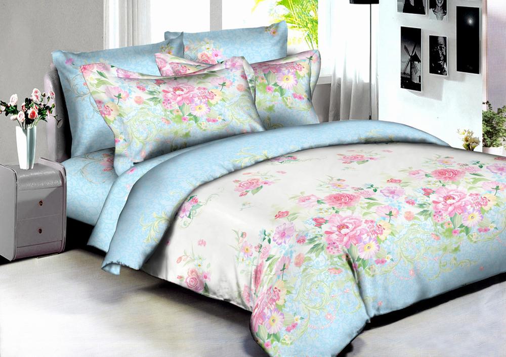 Купить Комплекты постельного белья Amore Mio, Постельное белье Madrid (2 сп. евро), Китай, Голубой, Розовый, Хлопковый сатин