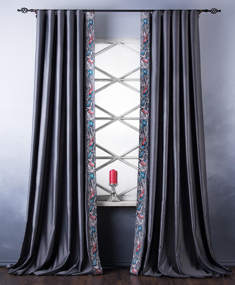 Купить Шторы PASIONARIA, Классические шторы Dailyra Цвет: Серый, Россия, Атлас