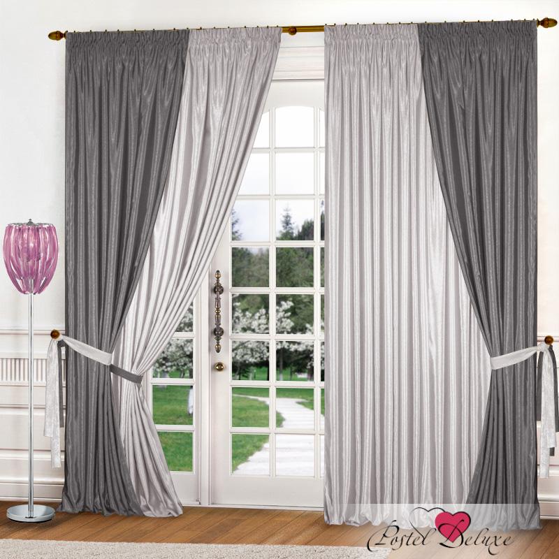 Купить Шторы Elegante, Классические шторы Миллениум Цвет: Светло-Серый, Стальной, Китай, Атлас