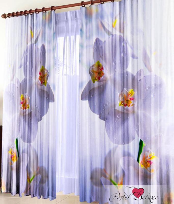 Купить Шторы Elegante, Фотошторы Белая Орхидея, Китай, Сиреневый, Габардин
