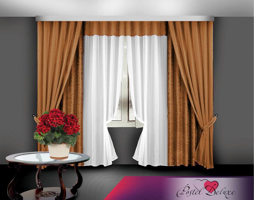 Купить Шторы Elegante, Классические шторы Caracas Цвет: Коричневый, Китай, Жаккард, Вуаль