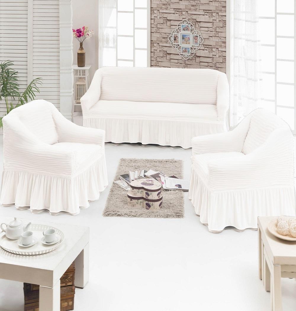 Набор чехлов для мягкой мебелиFiyonk Цвет: Кремовый В Полоску фото
