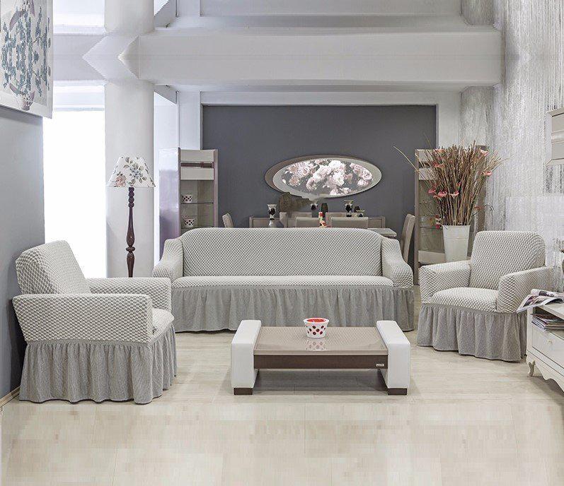 Набор чехлов для мягкой мебелиFiyonk Цвет: Кремово-Серый фото
