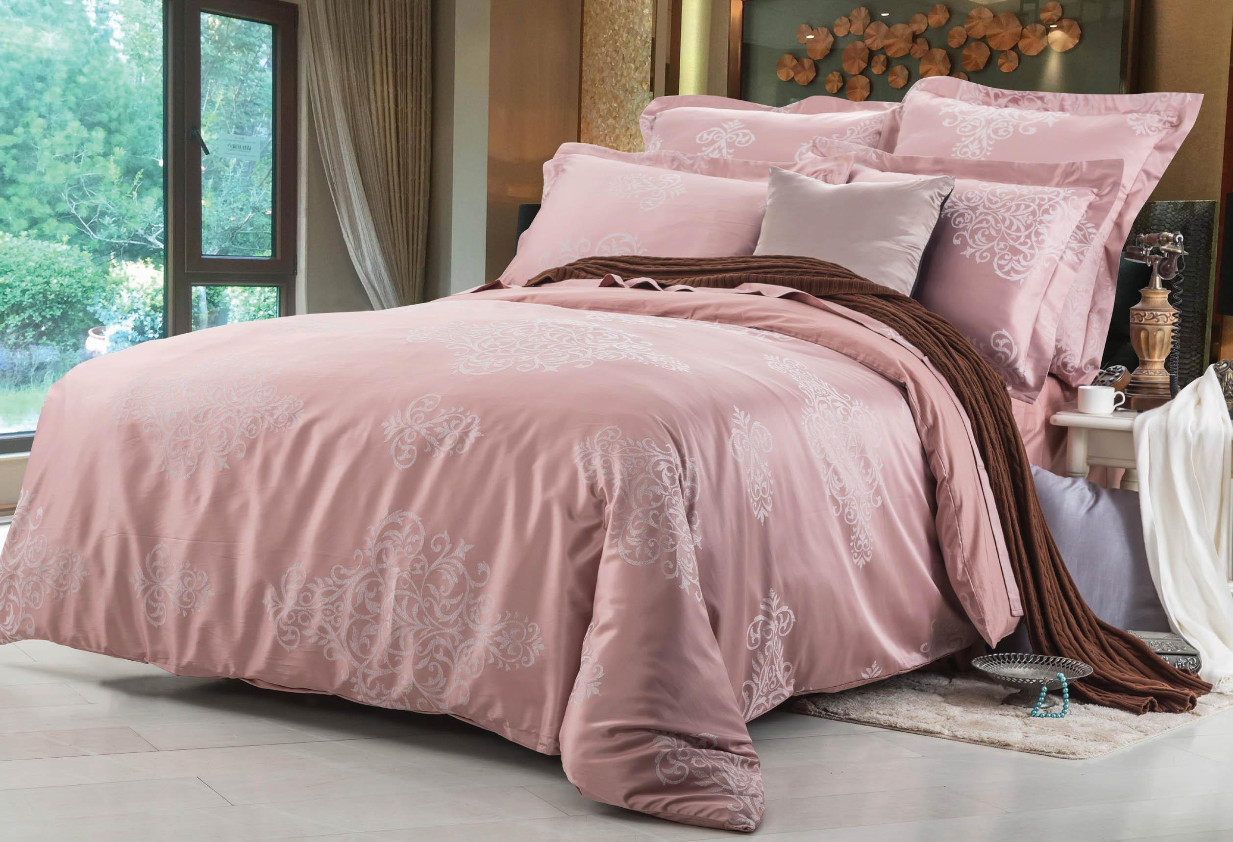 Купить Комплекты постельного белья СайлиД, Постельное бельеMelody F-131(2 сп. евро), Китай, Розовый, Хлопковый сатин