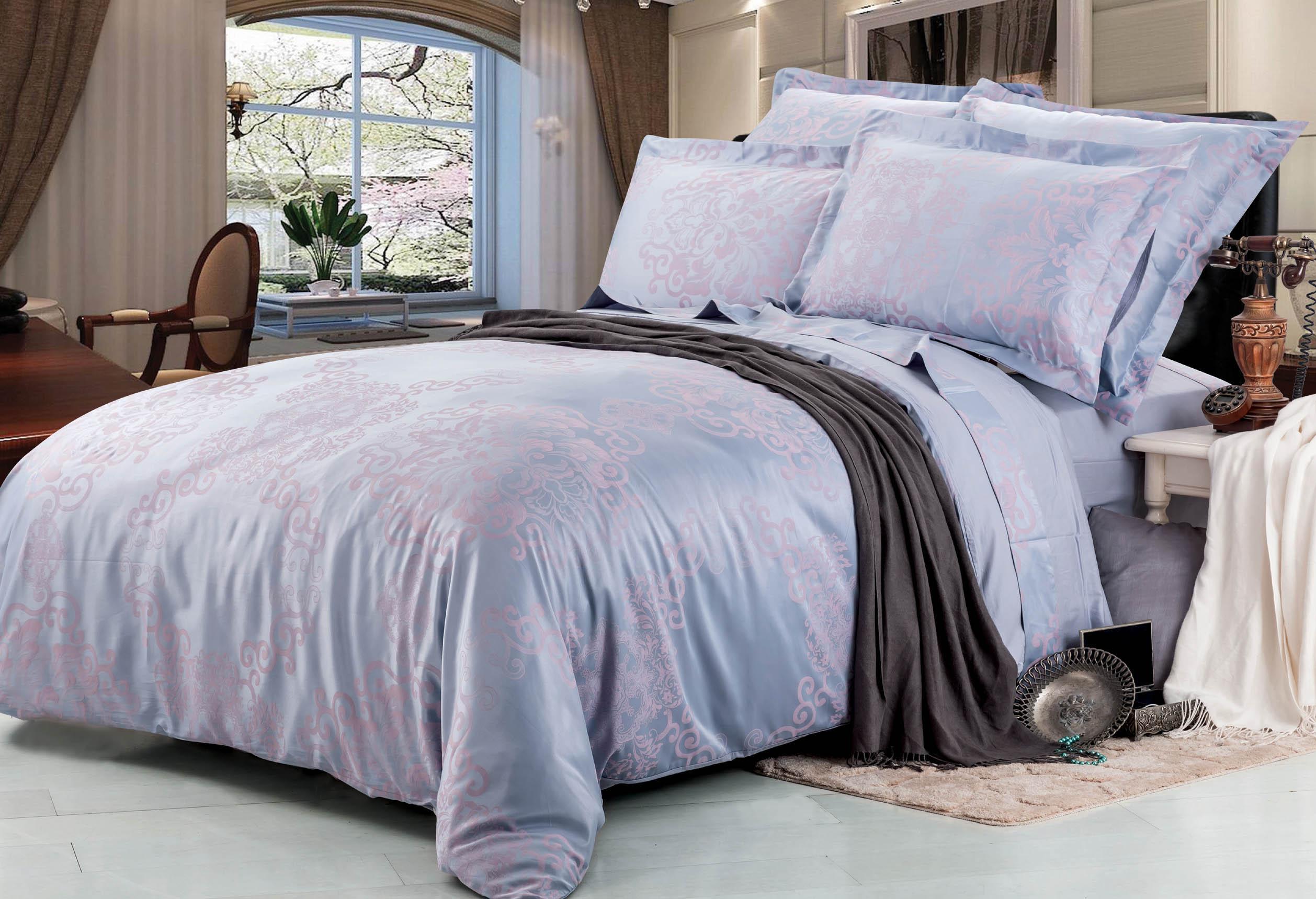 Купить Комплекты постельного белья СайлиД, Постельное бельеYuliana F-133(2 сп. евро), Китай, Розовый, Сиреневый, Хлопковый сатин
