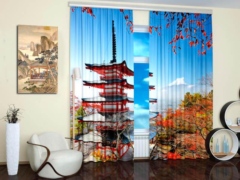 Шторы StickButik Фотошторы Пагода В Китайском Дворике