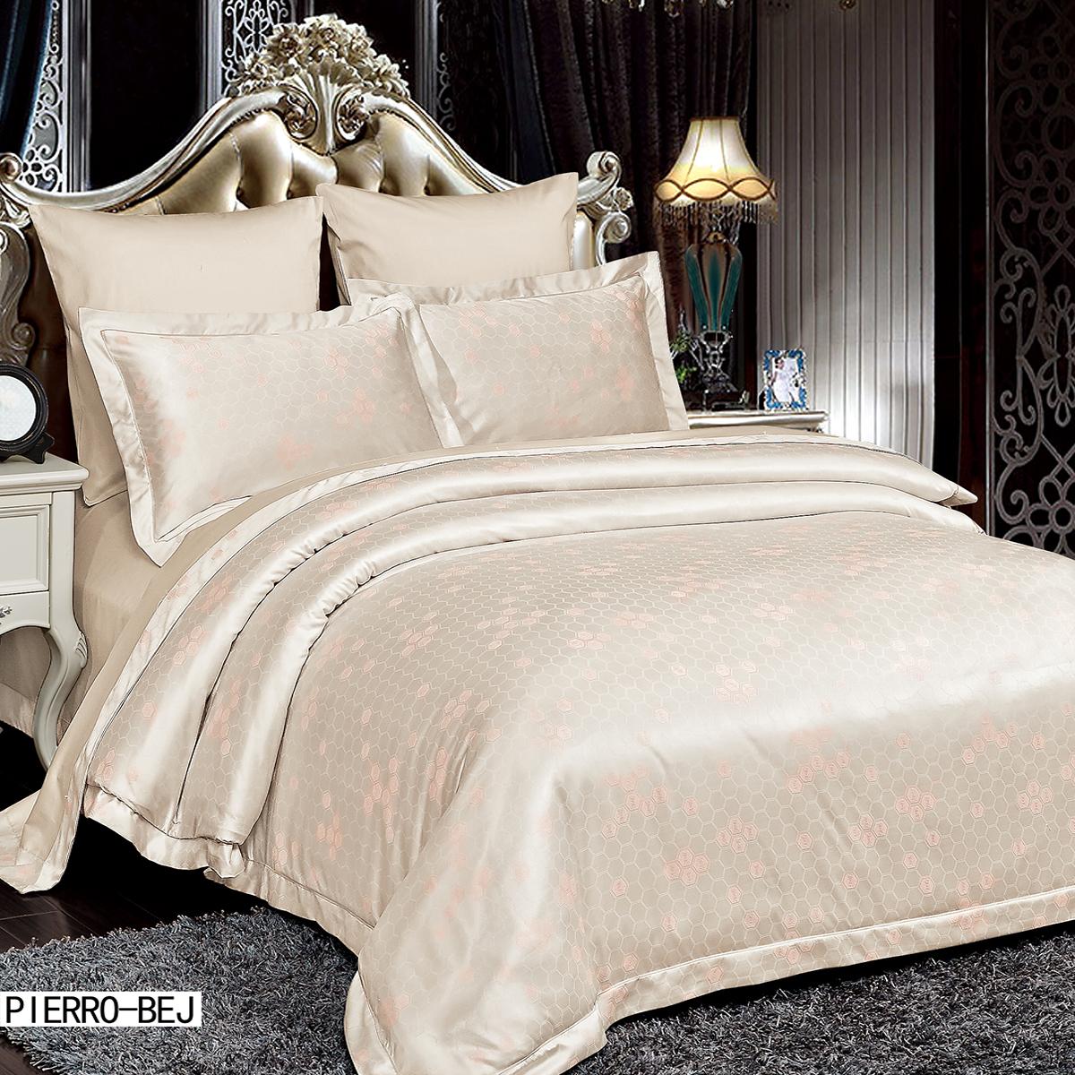 Купить Комплекты постельного белья Arya, Постельное белье Pierro Цвет: Бежевый (2 сп. евро), Турция, Бамбуковый сатин