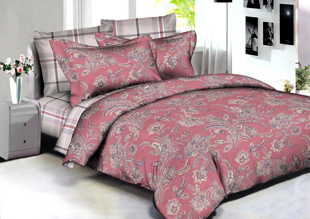 Купить Комплекты постельного белья Amore Mio, Постельное белье Dalian (2 сп. евро), Китай, Бордовый, Розовый, Хлопковый сатин