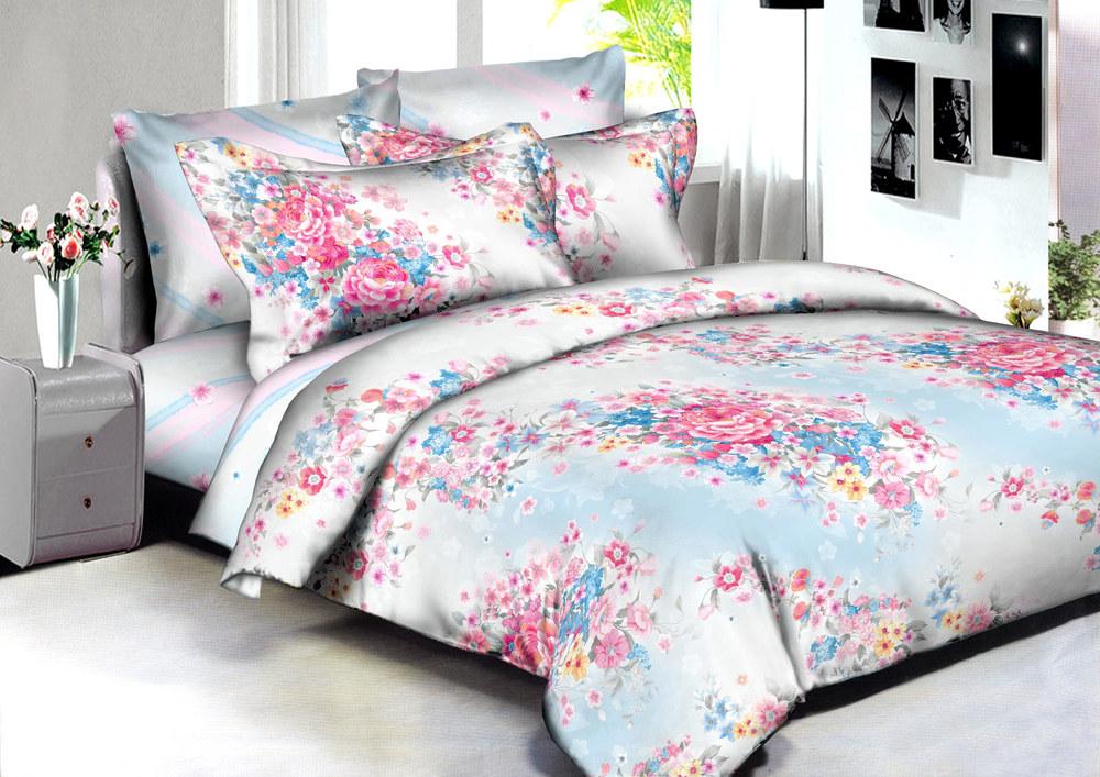 Купить Комплекты постельного белья Amore Mio, Постельное белье Venice (2 сп. евро), Китай, Голубой, Розовый, Хлопковый сатин