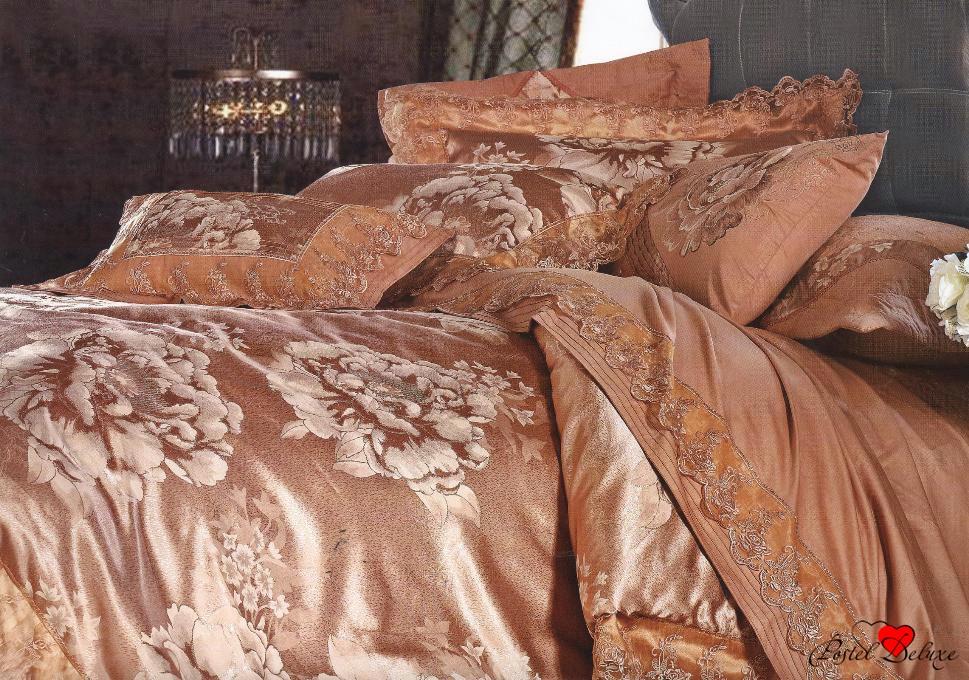 Купить Комплекты постельного белья Famille, Постельное белье Cecilia V6 (2 сп. евро), Китай, Коричневый, Оранжевый, Хлопковый сатин