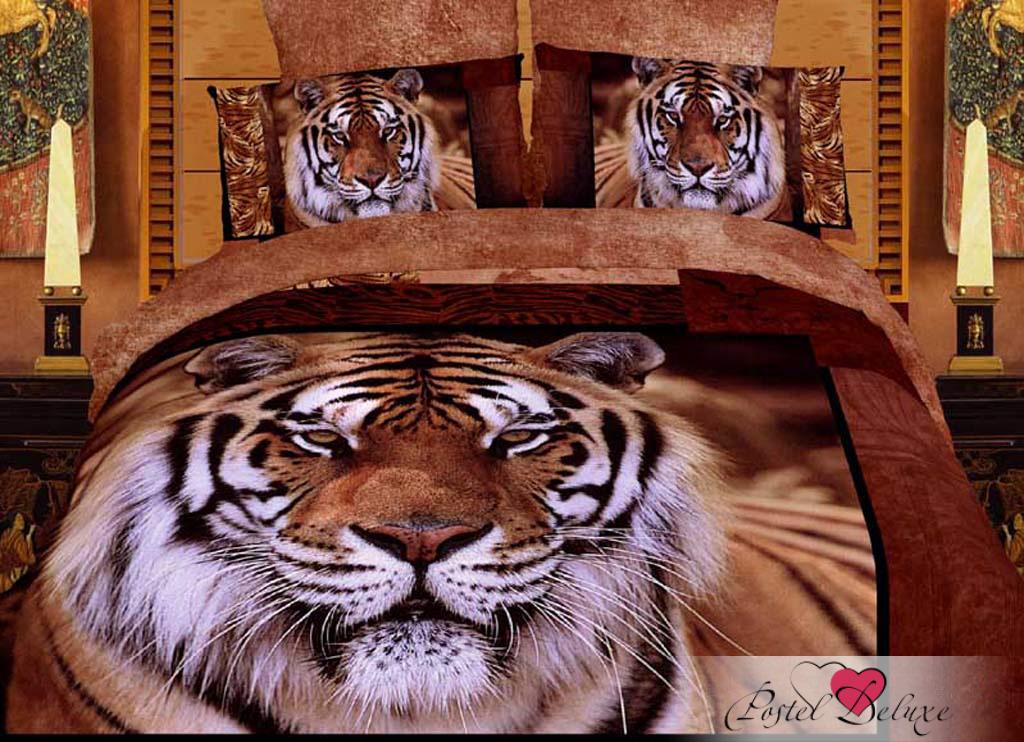 Купить Комплекты постельного белья Famille, Постельное белье Leopard (2 сп. евро), Китай, Бежевый, Коричневый, Хлопковый сатин