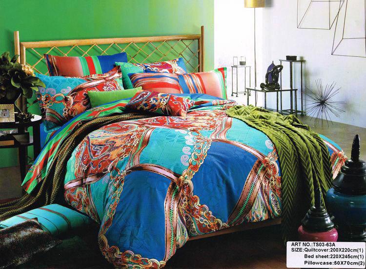 Купить Комплекты постельного белья Tango, Постельное белье Frances (1, 5 спал.), Китай, Голубой, Оранжевый, Синий, Хлопковый сатин