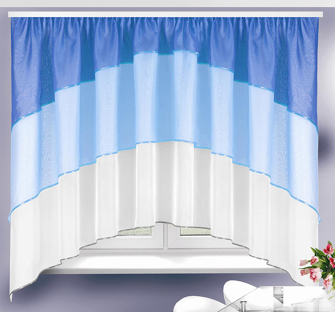 Купить Шторы Велес, Классические шторы Charmian Цвет: Сине-Голубой, Беларусь, Вуаль