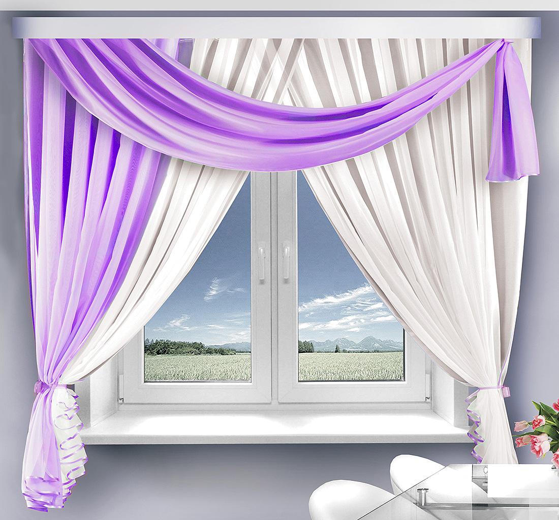 Купить Шторы Велес, Скрещенные шторы Венеция Цвет: Сиреневый, Беларусь, Вуаль