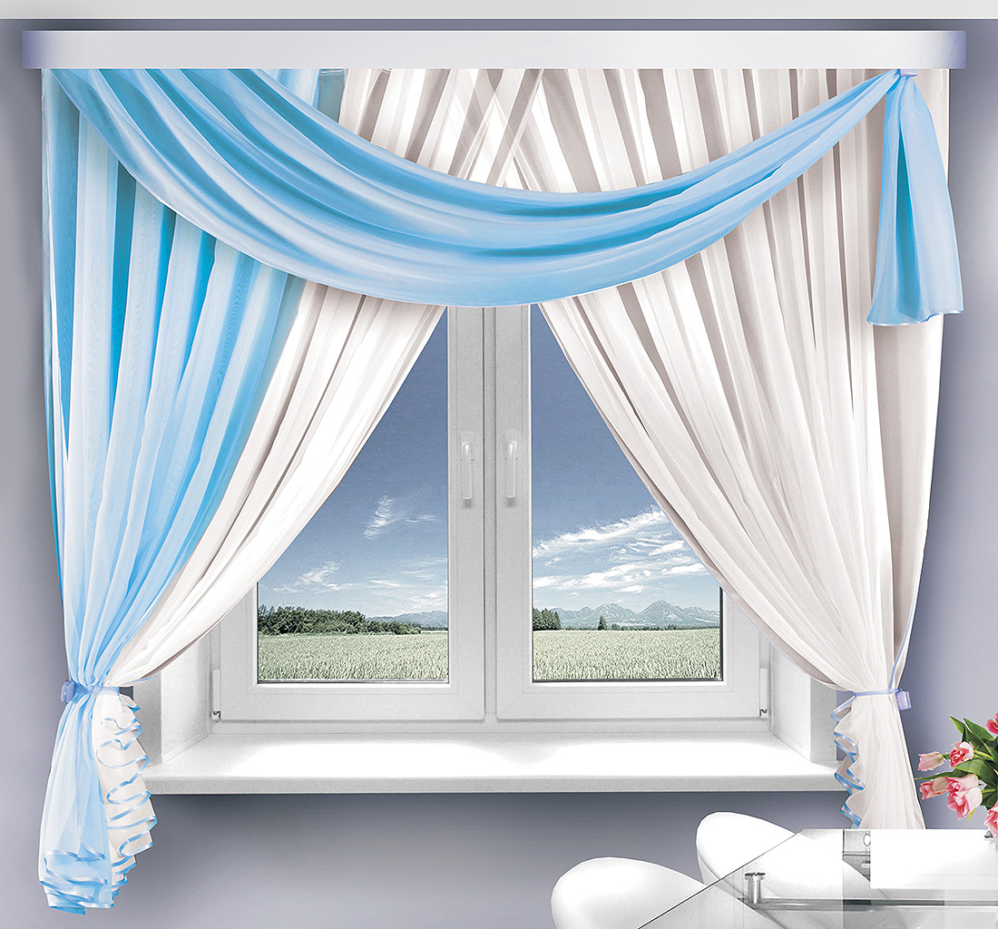 Купить Шторы Велес, Скрещенные шторы Венеция Цвет: Голубой, Беларусь, Вуаль