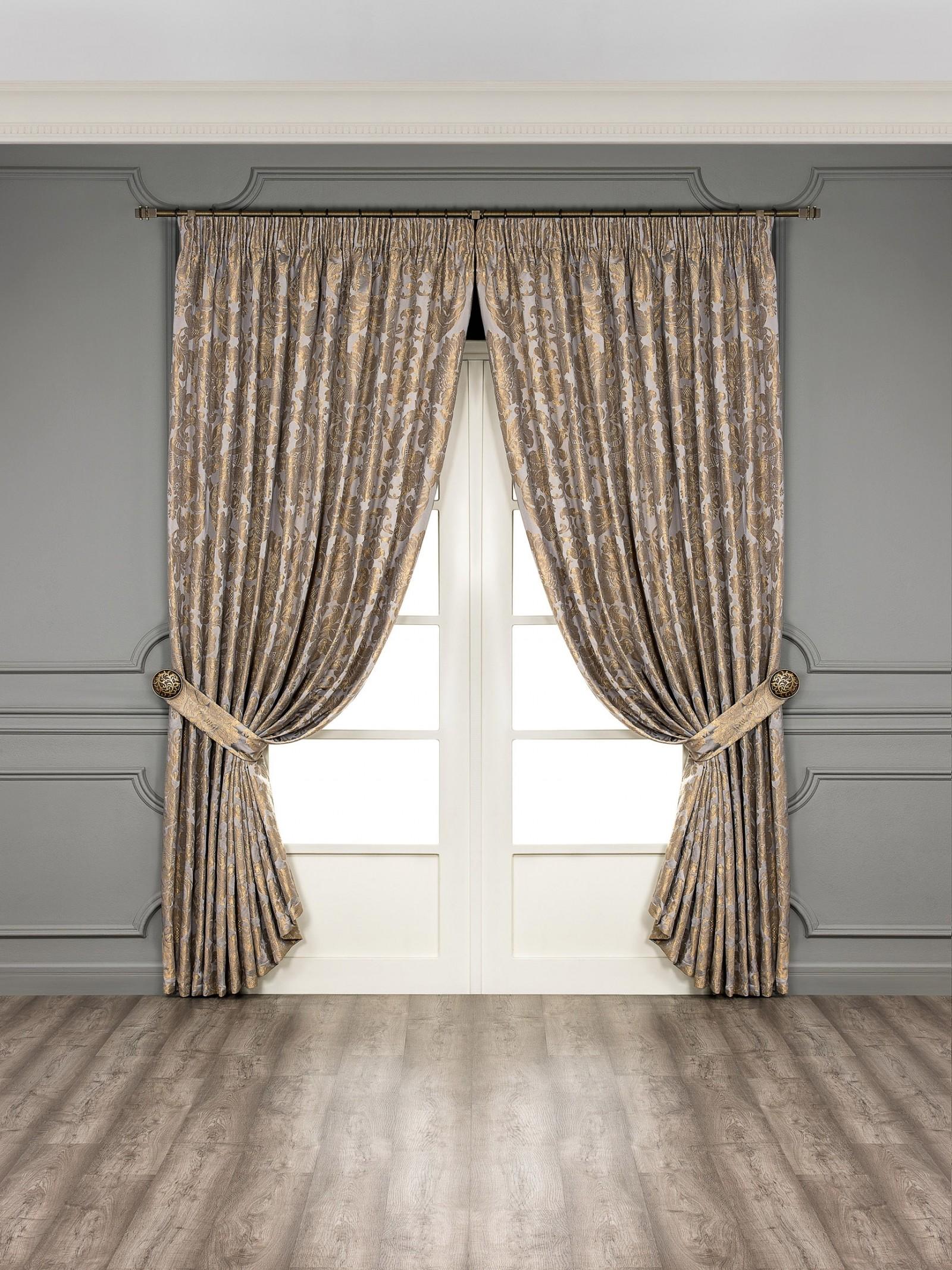 Купить Шторы Togas, Классические шторы Фредерик Цвет: Серый, Греция, Жаккард