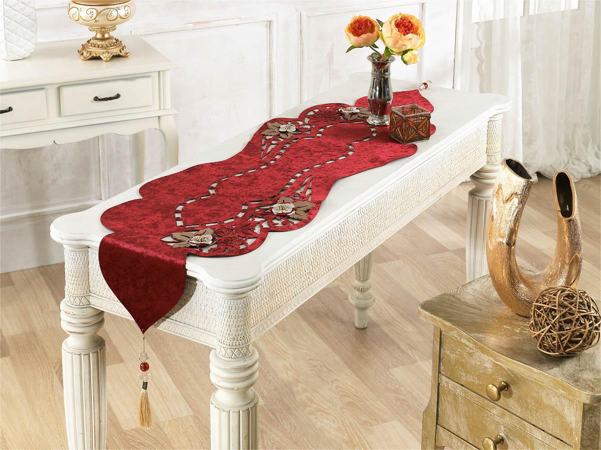 Купить Скатерти и салфетки Finezza, Дорожка на стол Eva Цвет: Бордовый (40х140 см), Турция, Красный, Бархат