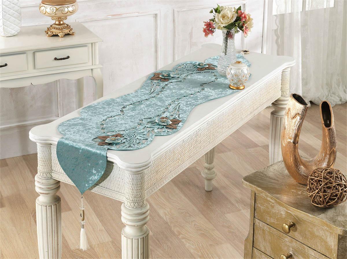 Купить Скатерти и салфетки Finezza, Дорожка на стол Eva Цвет: Голубой (40х140 см), Турция, Бархат