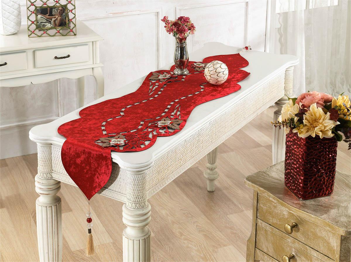 Купить Скатерти и салфетки Finezza, Дорожка на стол Eva Цвет: Красный (40х140 см), Турция, Бархат
