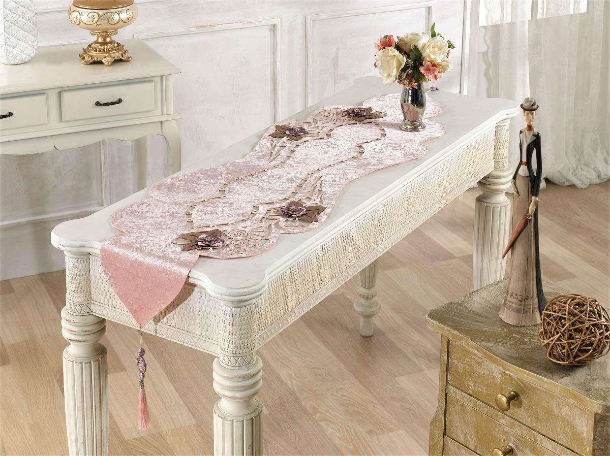 Купить Скатерти и салфетки Finezza, Дорожка на стол Eva Цвет: Пудра (40х140 см), Турция, Бархат