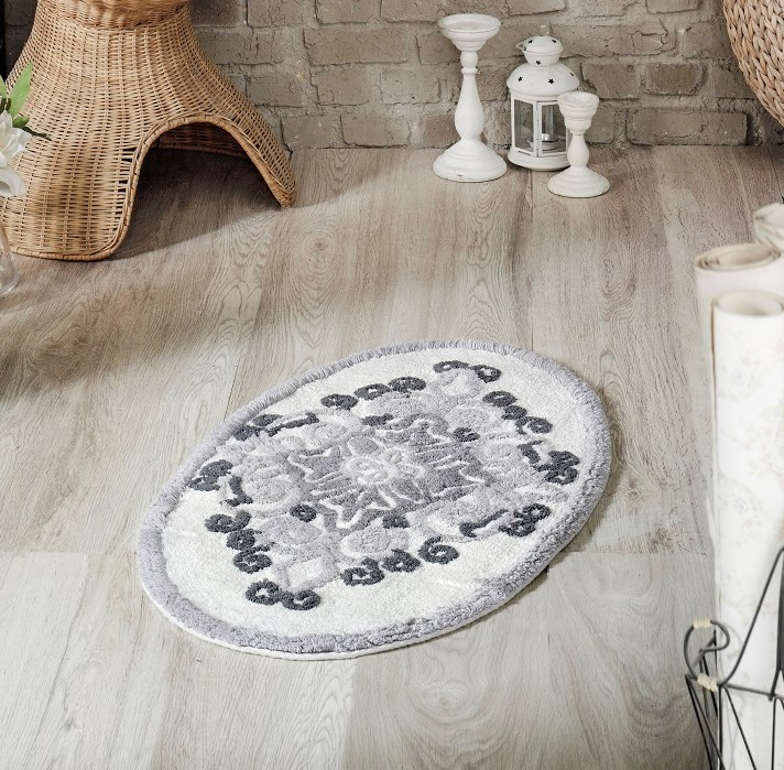 Купить Коврики для ванной и туалета Modalin, Коврик для ванной Vera Цвет: Серый (50х80 см), Россия-Турция, Хлопковая махра