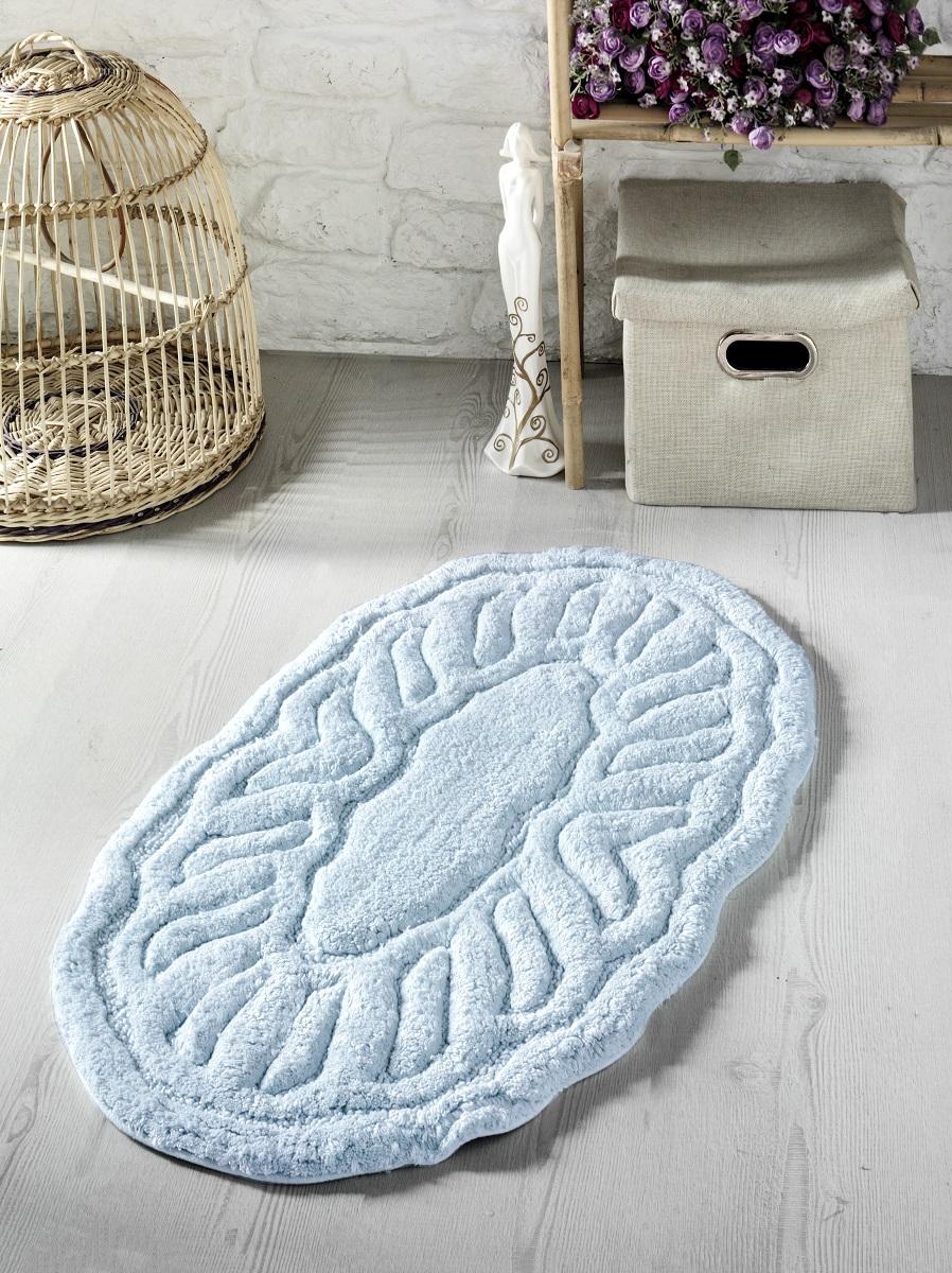Купить Коврики для ванной и туалета Modalin, Коврик для ванной Wenge Цвет: Голубой (50х80 см), Россия-Турция, Хлопковая махра
