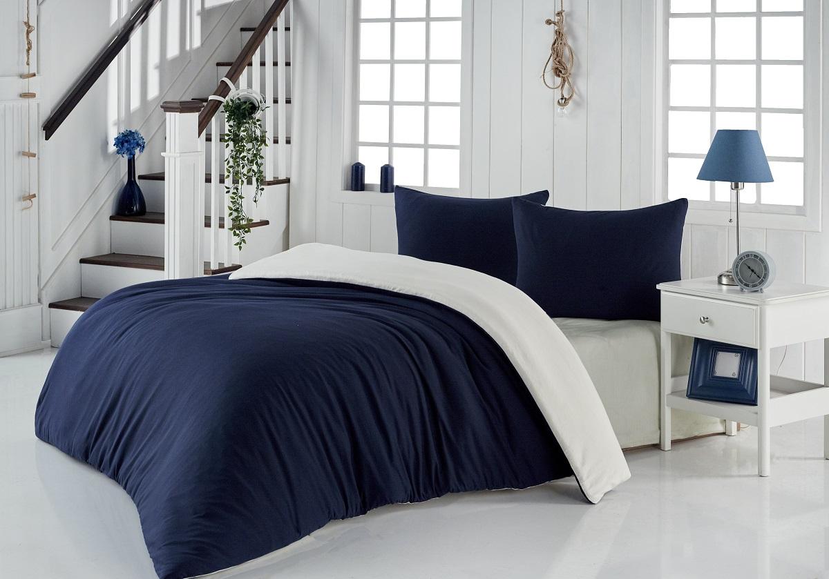 Купить Комплекты постельного белья Acelya, Постельное белье Sofa Цвет: Синий, Кремовый (2 сп. евро), Турция, Хлопковый трикотаж