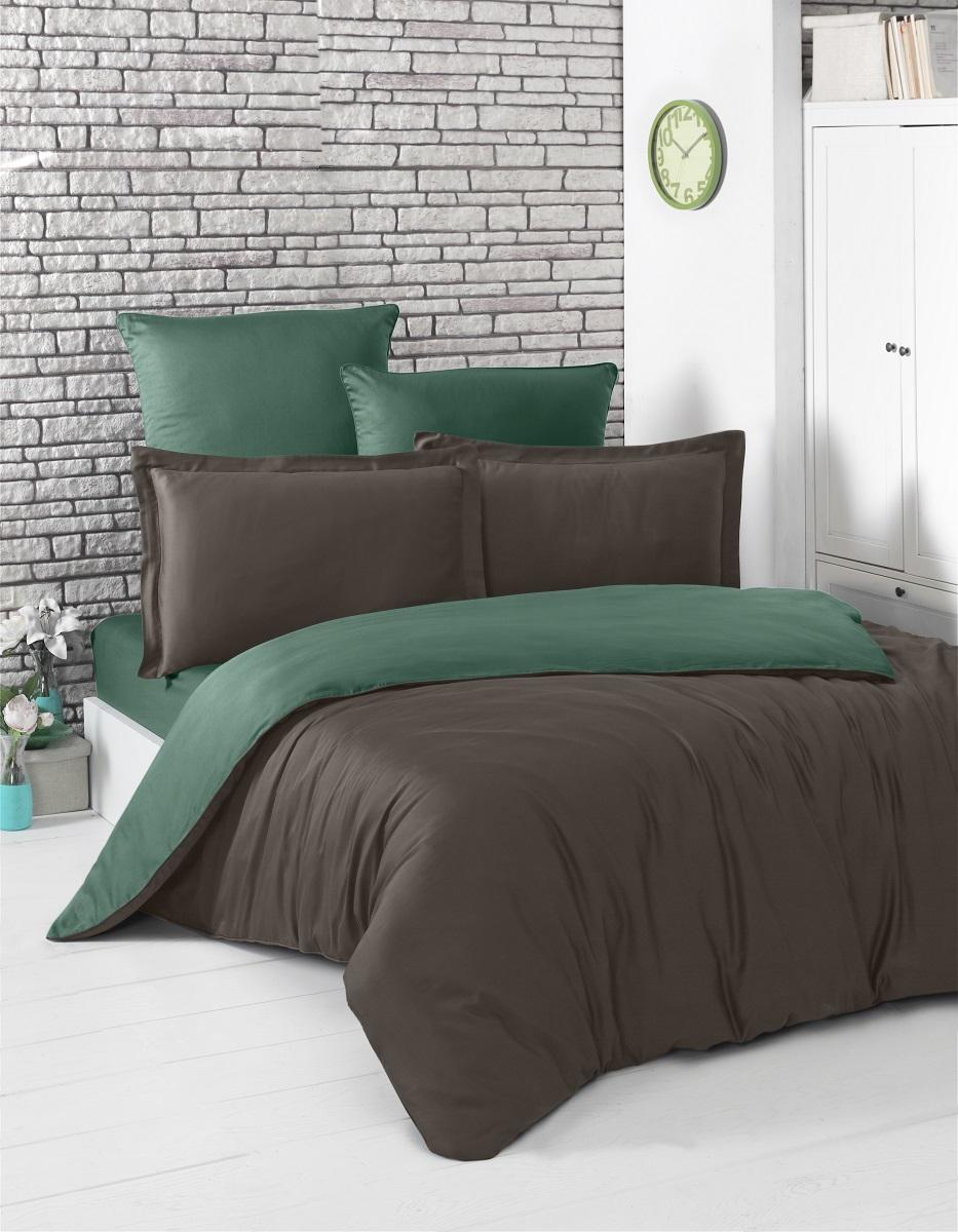 Купить Комплекты постельного белья Karna, Постельное белье Loft Цвет: Шоколадный, Зеленый (1, 5 спал.), Турция, Хлопковый сатин