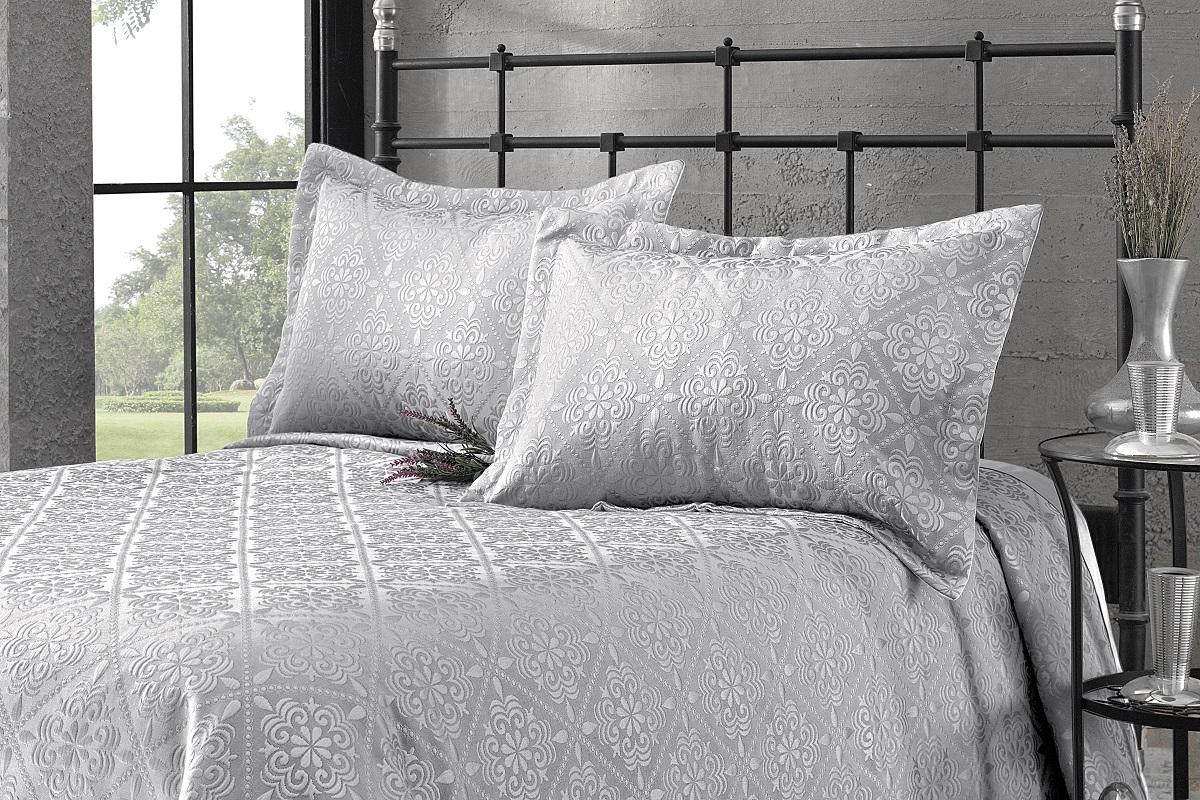 Купить Пледы и покрывала Karna, Покрывало Branden Цвет: Серый (180х260 см), Турция, Синтетический жаккард