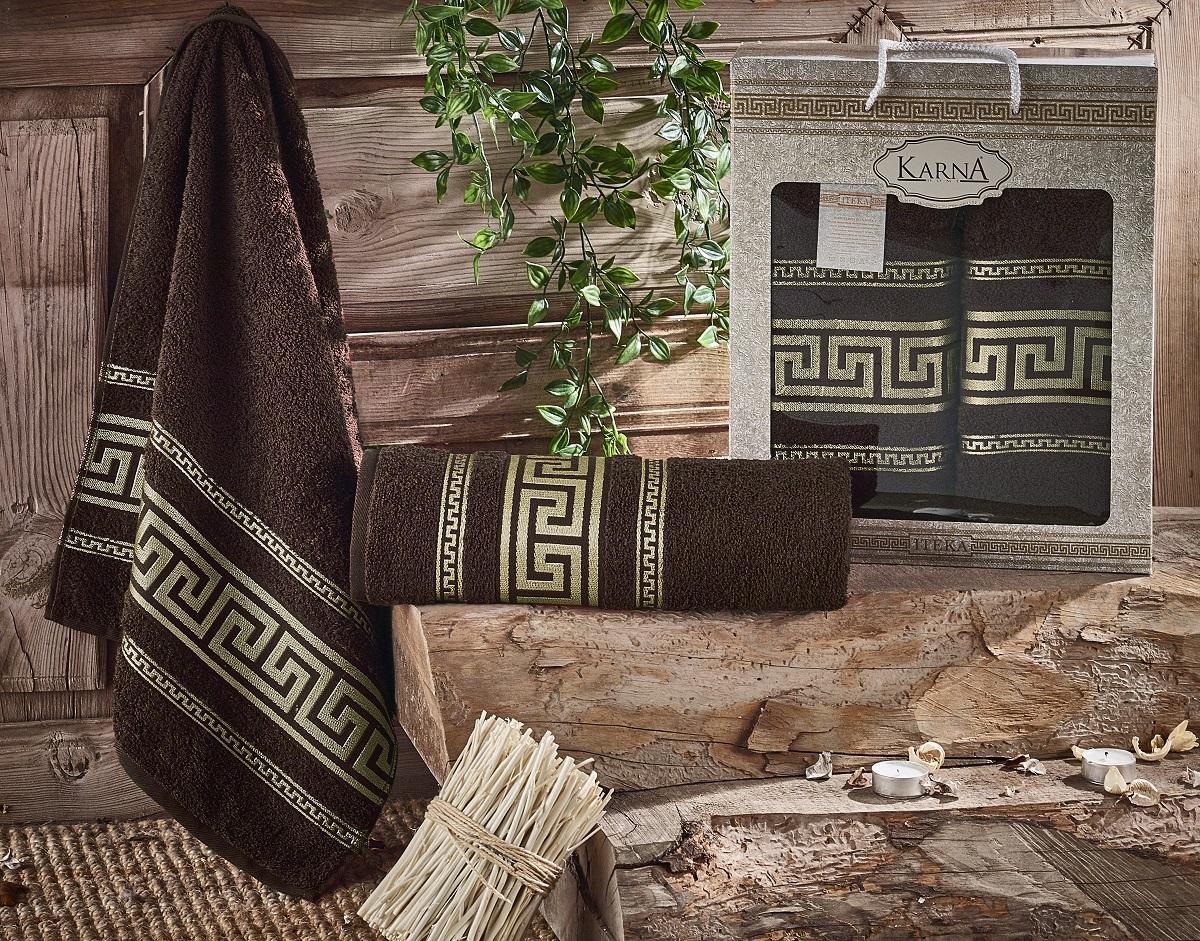 Купить Полотенца Karna, Набор из 2-х полотенец Iteka Цвет: Коричневый (50х90 см, 70х140 см), Турция, Махра
