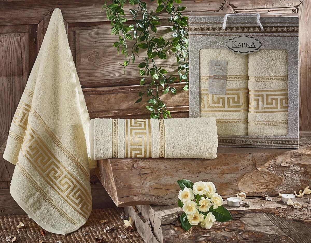 Купить Полотенца Karna, Набор из 2-х полотенец Iteka Цвет: Кремовый (50х90 см, 70х140 см), Турция, Махра