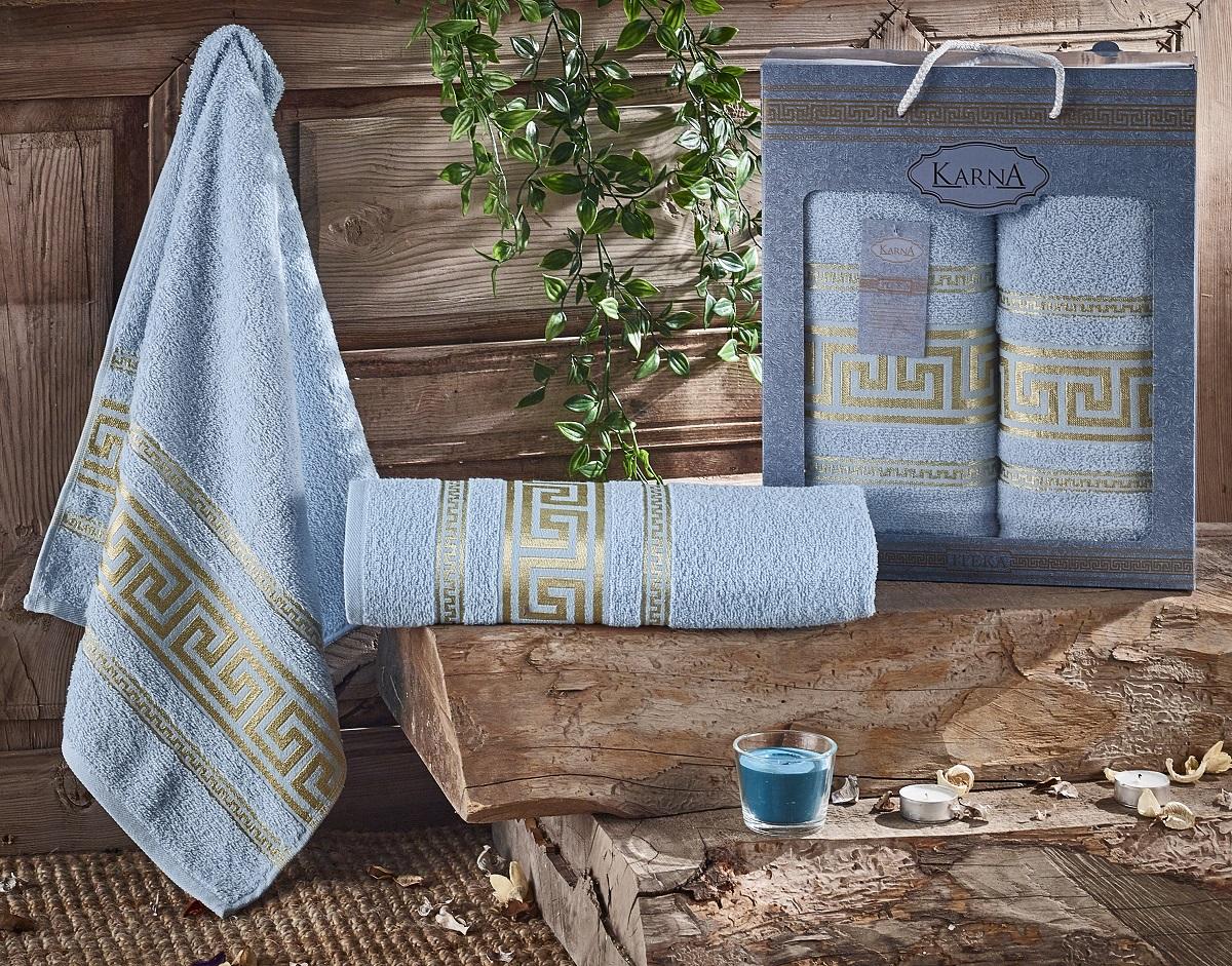 Купить Полотенца Karna, Набор из 2-х полотенец Iteka Цвет: Светло-Голубой (50х90 см, 70х140 см), Турция, Махра