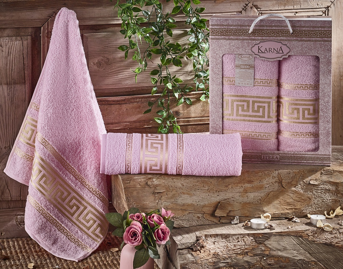 Купить Полотенца Karna, Набор из 2-х полотенец Iteka Цвет: Светло-Розовый (50х90 см, 70х140 см), Турция, Махра