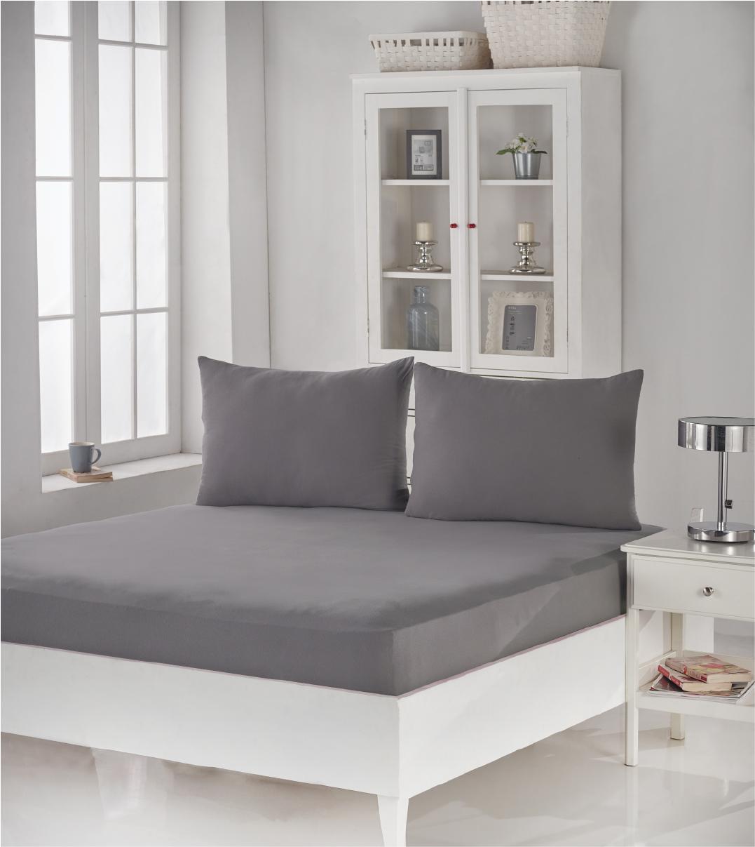 Купить Простыни Karna, Простыня на резинке Acelya Цвет: Серый (180х200), Турция, Хлопковый трикотаж