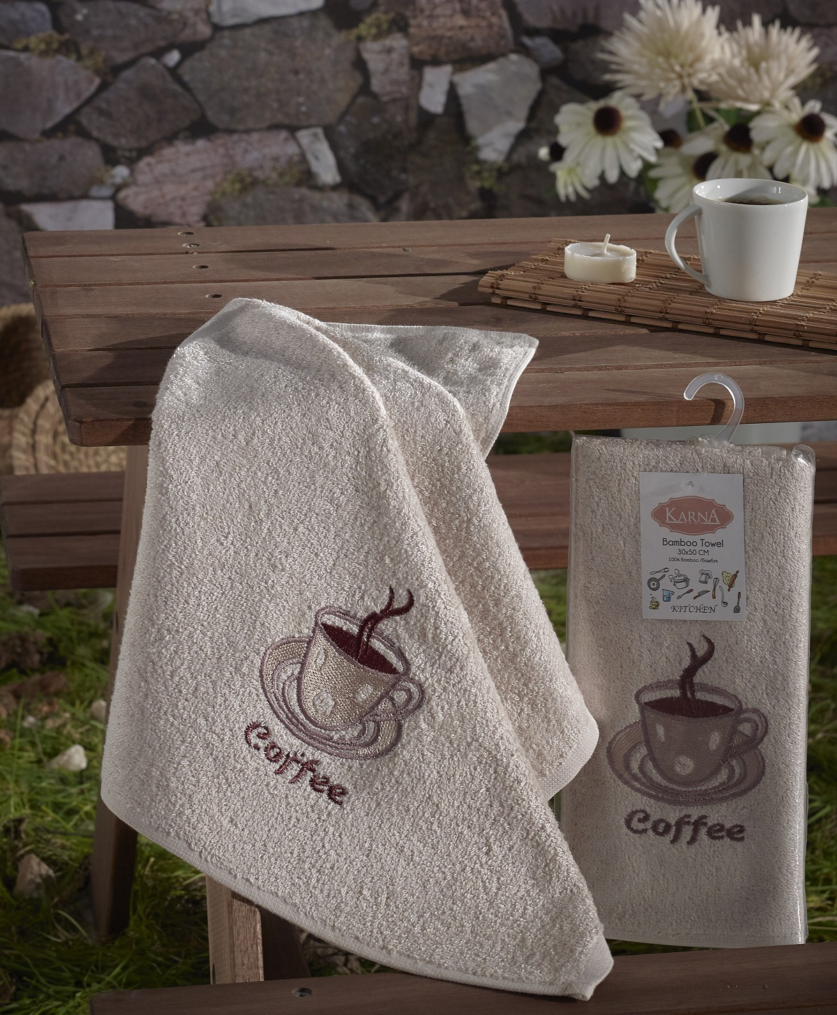 Полотенца Karna Кухонное полотенце Self (30х50 см) полотенце кухонное бамбук 40х60см клетка жакк в ассортименте 30% хлопок 70% бамбук