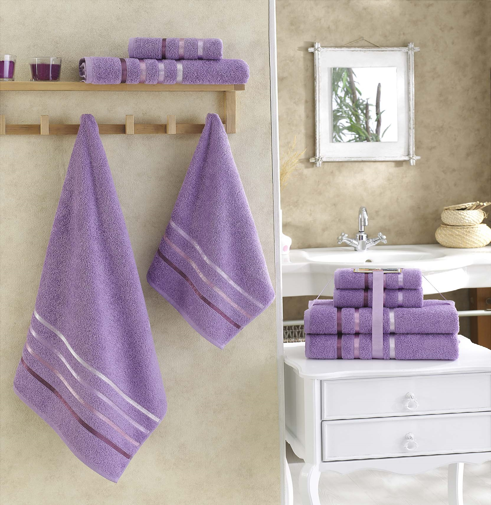 Купить Полотенца Karna, Полотенце Bale Цвет: Сиреневый (Набор), Турция, Махра