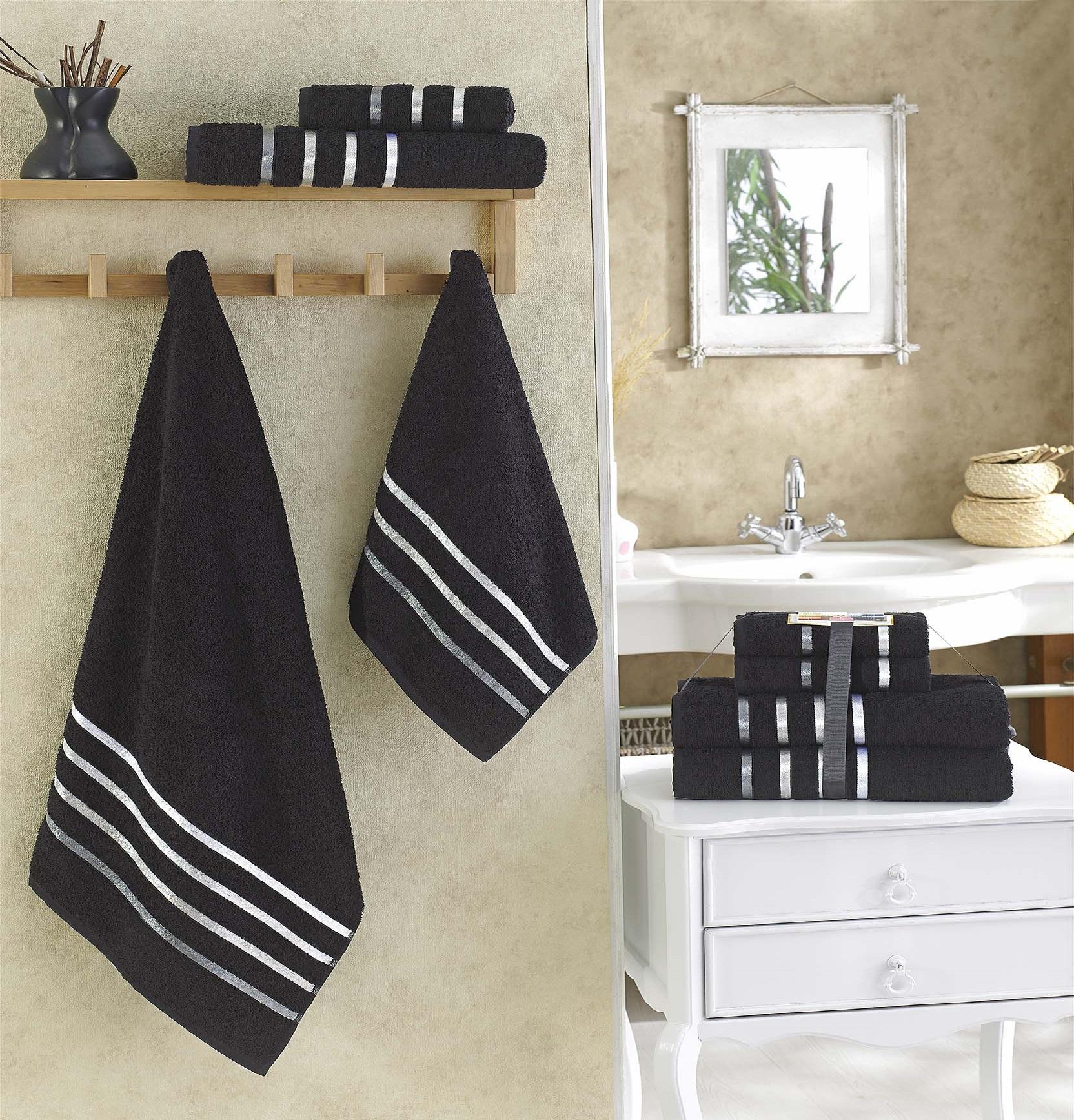 Купить Полотенца Karna, Полотенце Bale Цвет: Черный (Набор), Турция, Махра