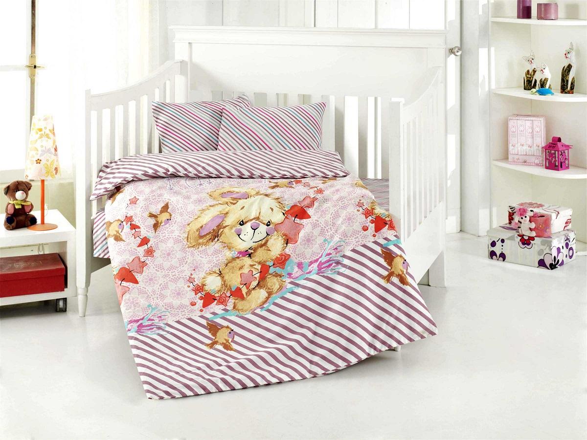 Купить Детское постельное белье Altinbasak, Детское Постельное белье Almerie Цвет: Розовый (100х150 см), Турция, Бязь