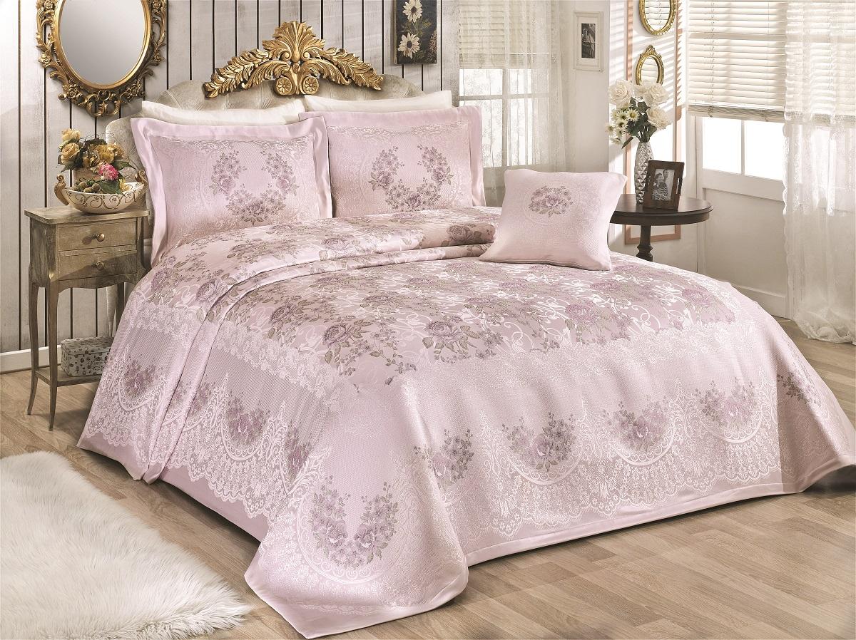 Купить Пледы и покрывала Karna, Покрывало Rosses Цвет: Пудра (260х260 см), Турция, Розовый, Синтетический жаккард