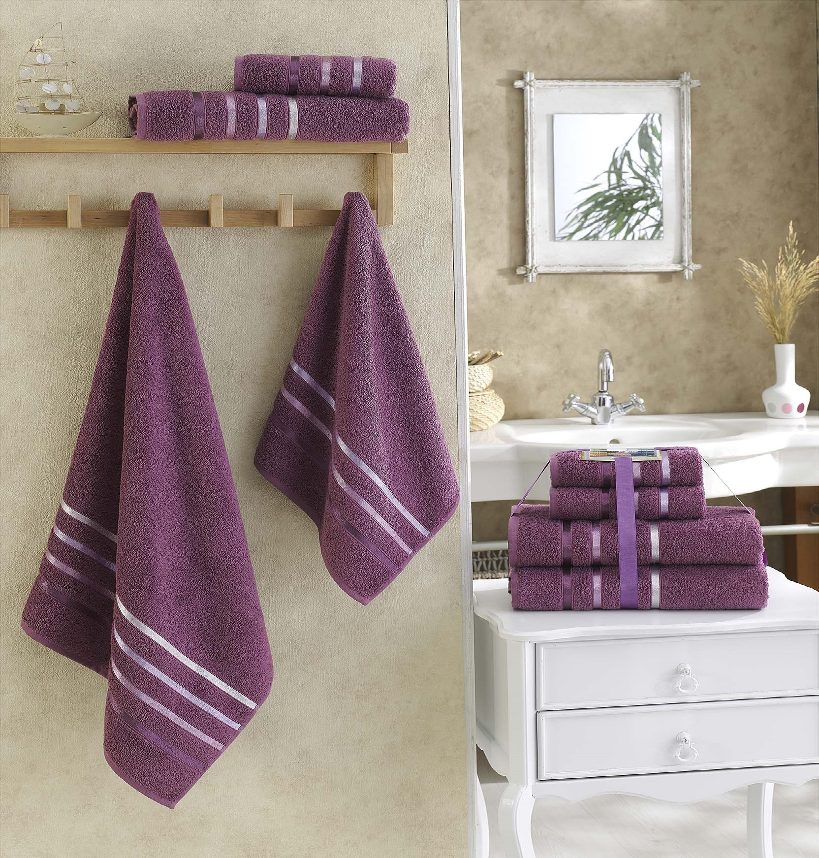 Полотенца Karna, Полотенце Bale Цвет: Светло-Лавандовый (Набор), Турция, Фиолетовый, Махра  - Купить