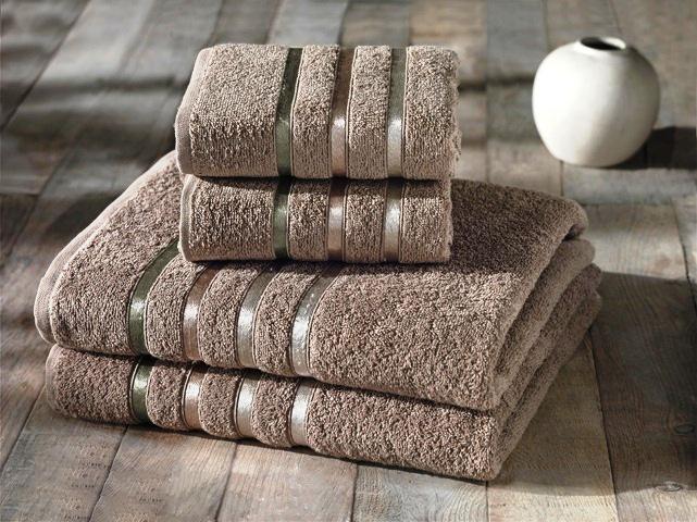 Купить Полотенца Karna, Полотенце Bale Цвет: Кофейный (Набор), Турция, Кремовый, Махра