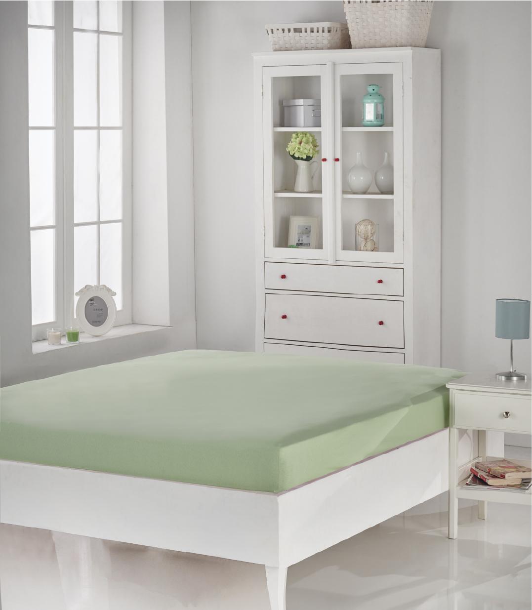 Купить Простыни Karna, Простыня на резинке Acelya Цвет: Светло-Зеленый (160х200), Турция, Хлопковый трикотаж