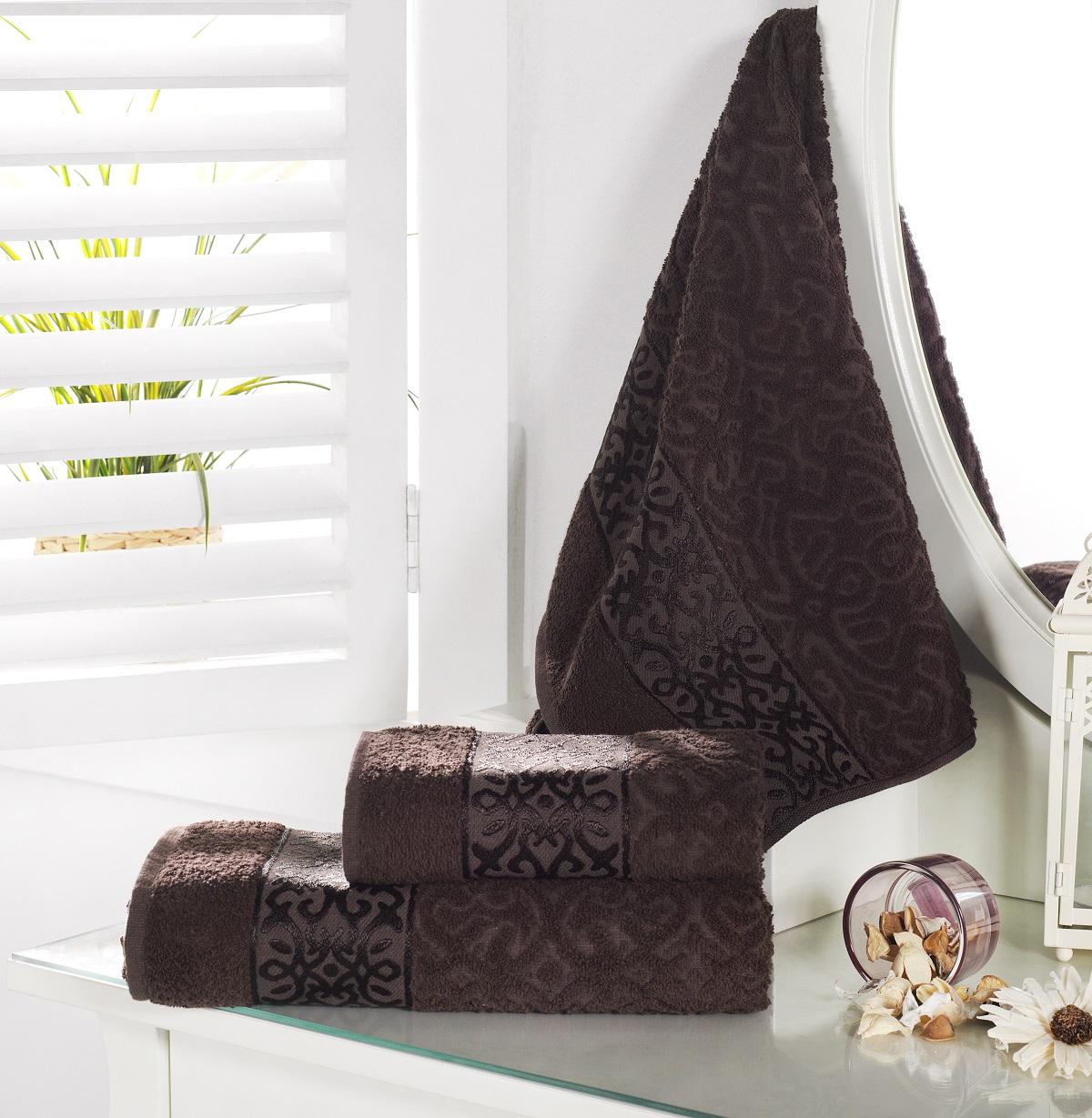 Купить Полотенца Karna, Полотенце Sahra Цвет: Коричневый (70х140 см), Турция, Жаккард