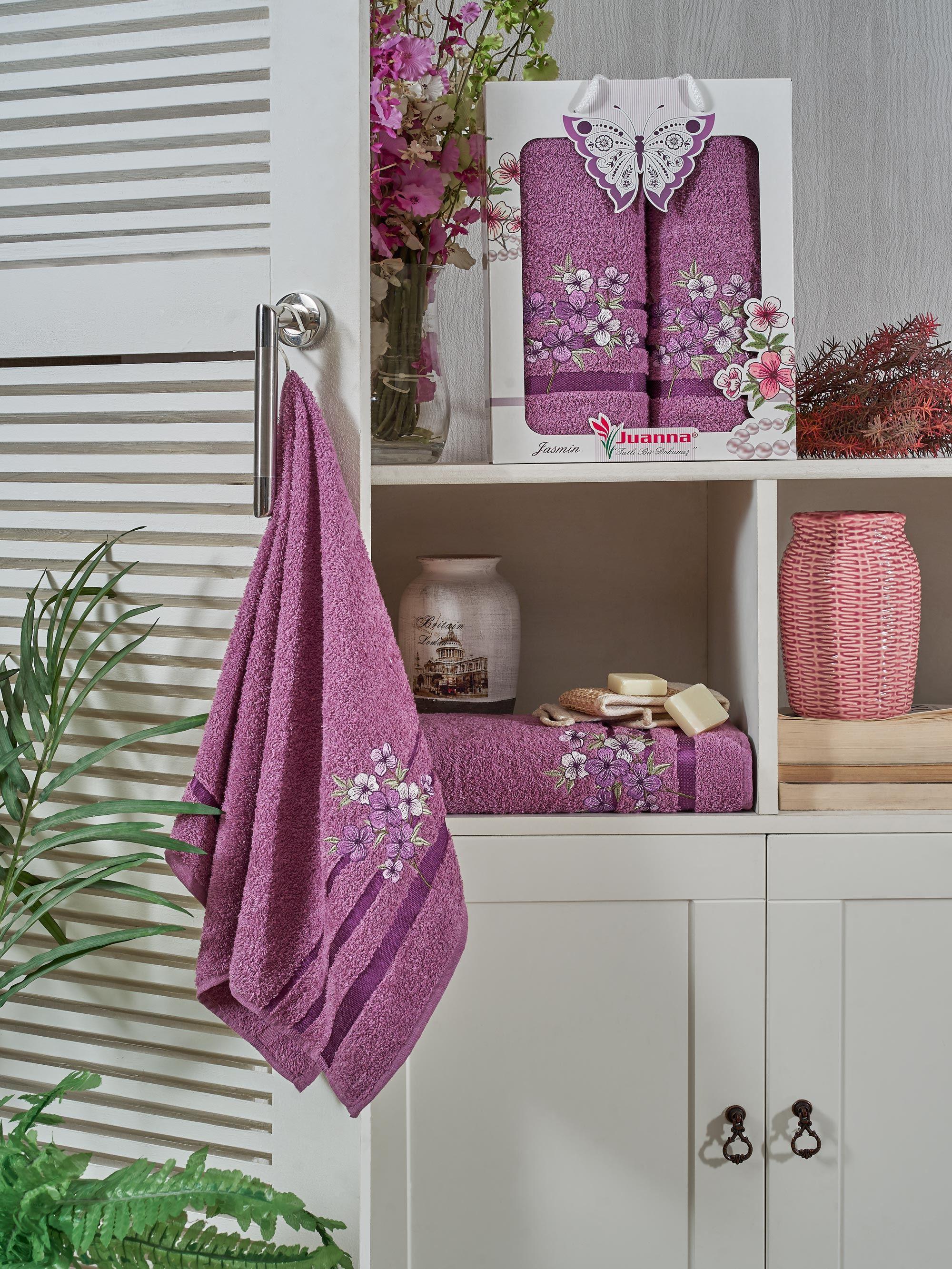 Купить Полотенца Juanna, Полотенце Jasmin Цвет: Баклажан (50х90 см, 70х140 см), Турция, Фиолетовый, Махра