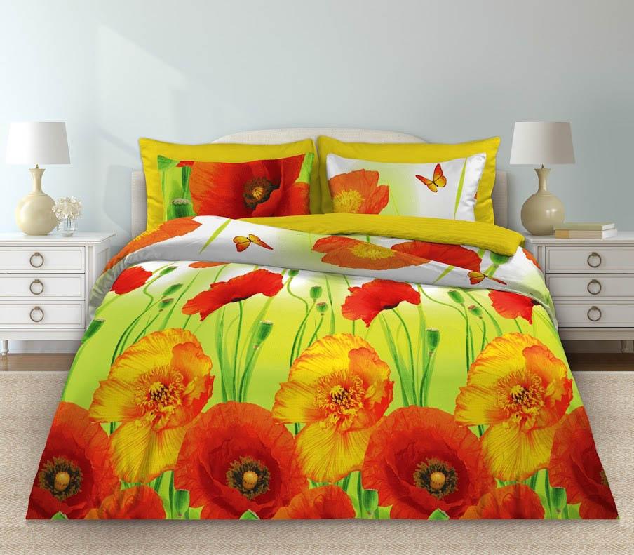 Комплекты постельного белья Любимый дом Постельное белье Маки (2 спал.) цена