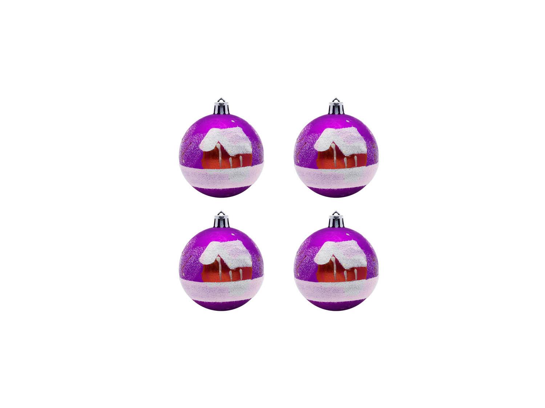 Елочные шарики Зимняя Деревня С Елками (7 см - 4 шт) фото