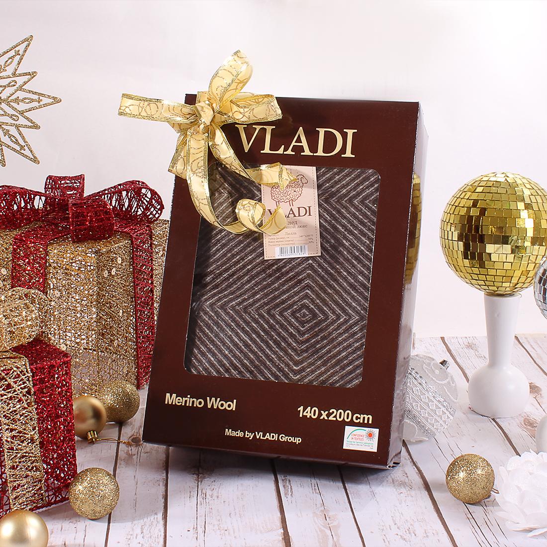 Купить Пледы и покрывала Vladi, Плед Лилль (140х200 см), Украина, Коричневый, Жаккард из шерсти мериноса