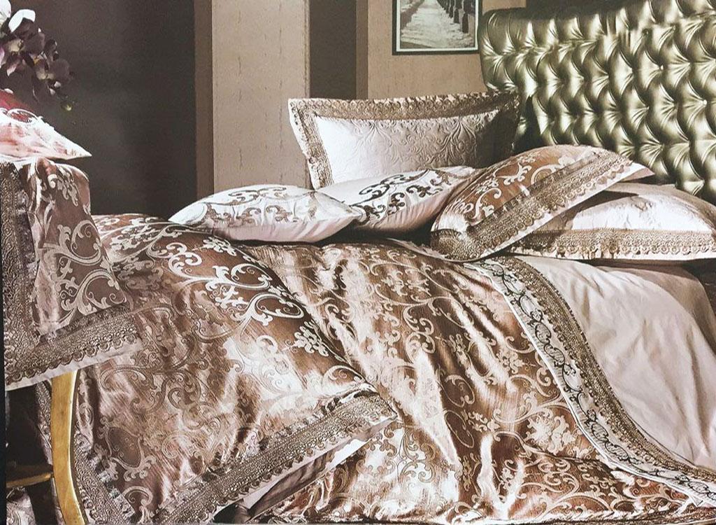 Купить Комплекты постельного белья Famille, Постельное белье Tamya V6 (2 сп. евро), Китай, Бежевый, Хлопковый сатин