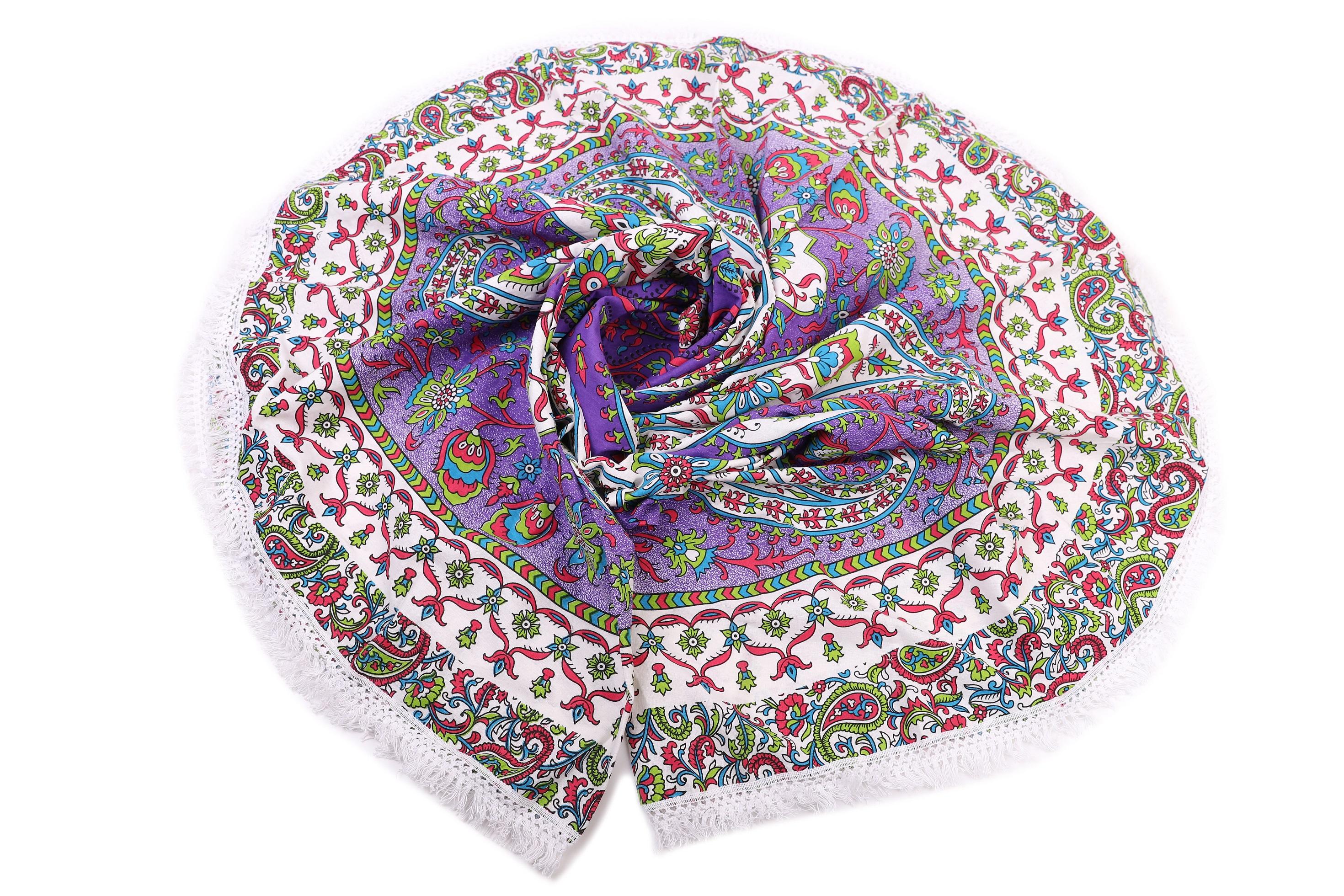Пледы и покрывала Ганг, Покрывало пляжное Dismas (190 см), Индия, Зеленый, Сиреневый, Хлопковый сатин  - Купить