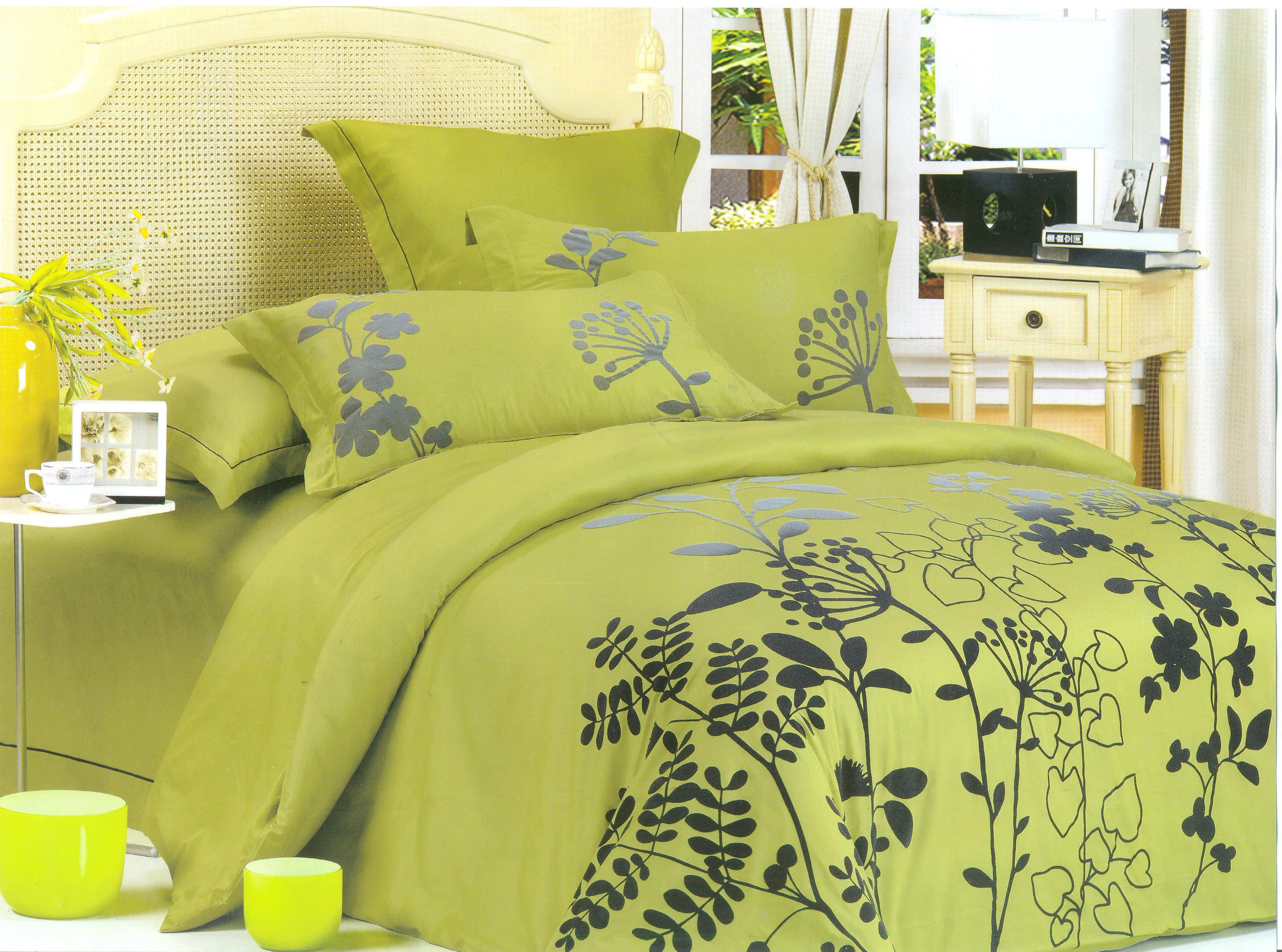 Купить Комплекты постельного белья СайлиД, Постельное белье Selenia К-31 (2 сп. евро), Китай, Зеленый, Хлопковый сатин
